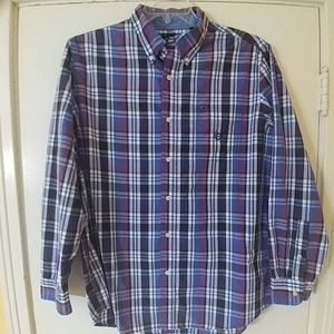 CHAPS Mens Purple & Blue Plaid Shirt L